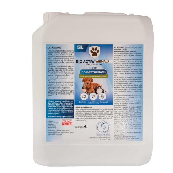 Bio ACTIW ANIMALS 5L Uniwersalny Środek bakteriobójczy, wirusobójczy i grzybobójczyzarejestrowany w obszarzeweterynaryjnym.